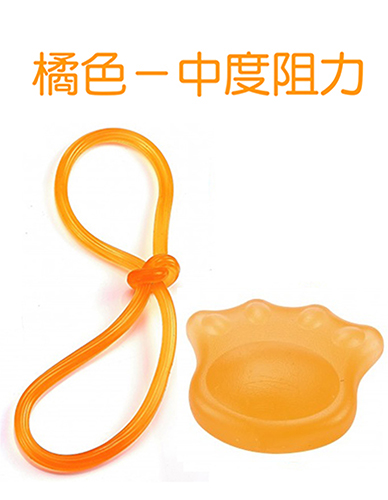 DCCD 熊掌握力器+果凍彈力繩 復健組合-橘色/中度阻力